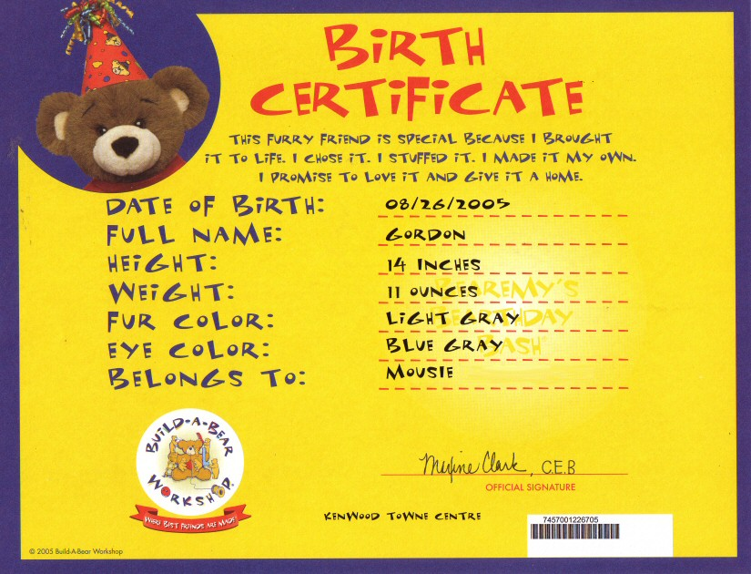 New build a bear birth certificate for Build a bear birth certificate template