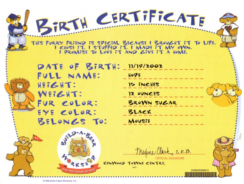Build a bear names for girls pictures to pin on pinterest for Build a bear certificate template